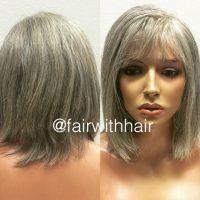 peruk av grå äkta hår